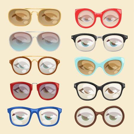 Vector cartoon glasses set illustration