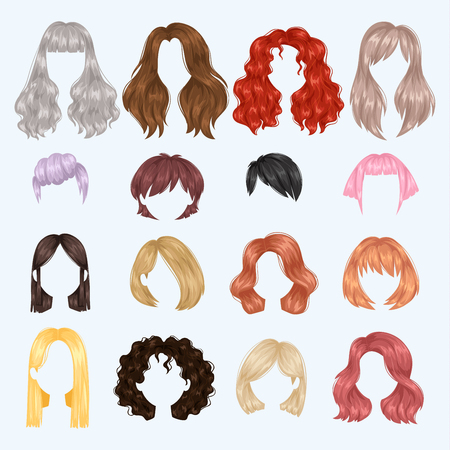 Illustration pour Female hairstyle illustration set - image libre de droit