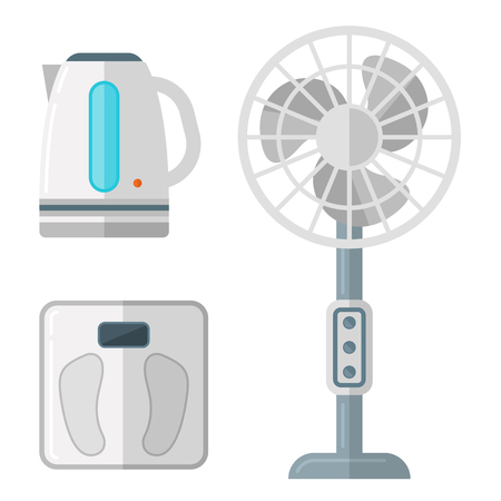 Home appliances vector domestic household equipment kitchen electrical domestic technology for homework tools illustration