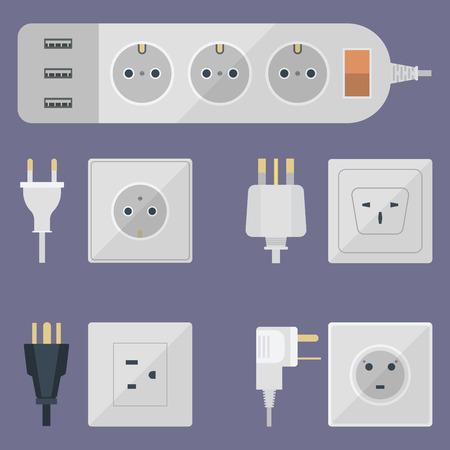 Electrical outlet plug illustration