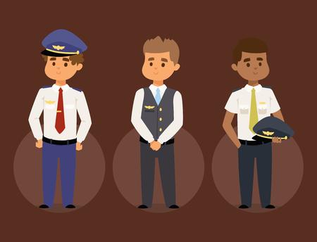 Ilustración de Pilots and stewardess vector illustration airline character plane personnel staff air hostess flight attendants people command. - Imagen libre de derechos