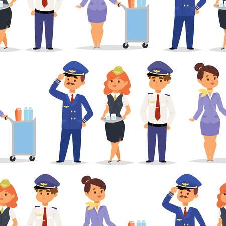 Ilustración de Pilots and stewardess vector illustration airline character plane personnel staff air hostess flight attendants people command seamless pattern background. - Imagen libre de derechos