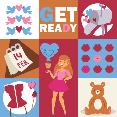 Illustration for Beautiful fashion woman vector illustration. Stylish girl with accessories, bear, birds. lips, hearts, sweets, corset. Cartoon attractive girl, Card for valentines day Poster banner - Royalty Free Image