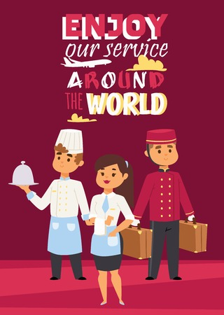 Illustration pour Hotel work concept represented poster with text Enjoy our service around the world. Vector illustration with happy staff, chef with dish, waitress and porter with baggage. - image libre de droit