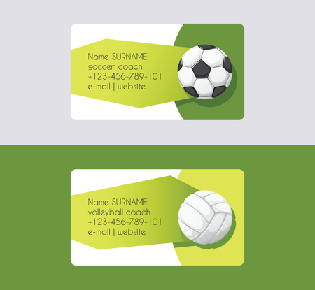 Sport vector business card football volleyball soccer competition background sportive equipment volley-ball on business-card backdrop for sport game backdrop wallpaper
