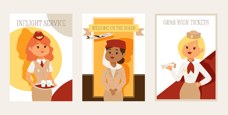 Stewardess vector flight crew beautiful woman character stewardess steward pilot and people traveling flying on airplane airliner in airport illustration backdrop banner design background