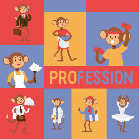 Monkey like people profession character vector illustration. Wild cartoon animal recruiter application landing page. Professional mammal worker banner. Animal primate in uniform customer agency job.