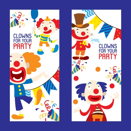 Illustration for Clowns for your party set of banners vector illustration. Funny characters and different circus accessories. Cartoon clown, comedian and jester performance in costume. Laughing faces. - Royalty Free Image