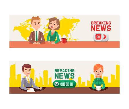 Illustration pour Breaking news on Television set of banners vector illustration. Anchor TV presenters man and woman. News announcers with paper script on hot news desk in studio, live broadcasts for viewers. Check in. - image libre de droit