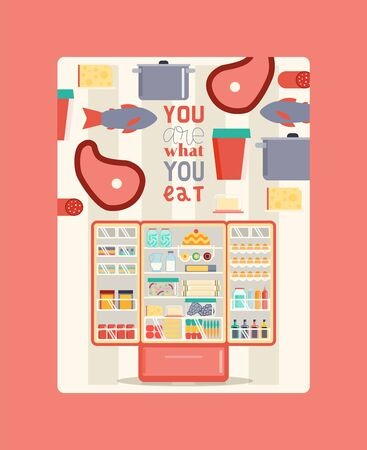 Illustration for Refregerator full of food poster vector illustration. Open cooler with fruits and vegetables, different sauces and drinks. Meat and fish on shelves. You are what you eat. - Royalty Free Image
