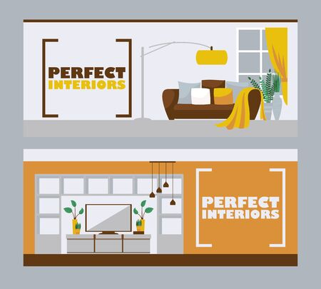 Illustration for Interior design banners, vector illustration. Furniture store advertisement header in flat style with space for text. Living room interior, modern apartment design - Royalty Free Image