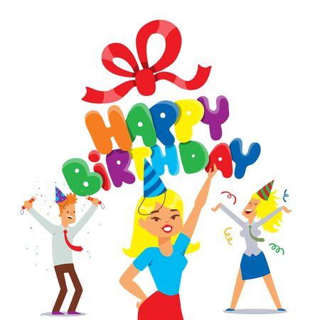Vektor für Happy birthday party celebration, vector illustration. Typographic greeting card template, people cartoon characters, birthday party invitation. Happy man and woman celebrating together, having fun - Lizenzfreies Bild