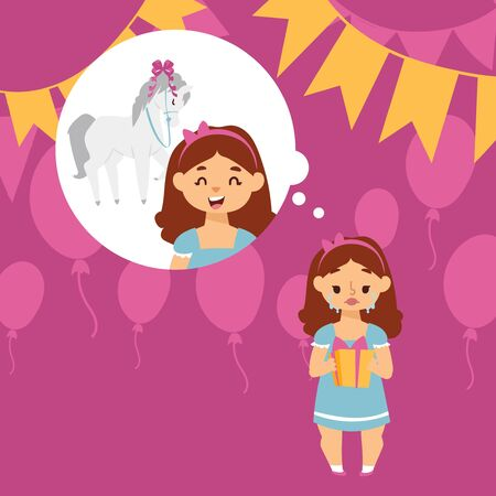 Illustration pour Crying girl disappointed with birthday present vector illustration. Expectations and reality. Girl dreamed of pony but received small gift box on birthday. Upset child, sad kid crying at party - image libre de droit