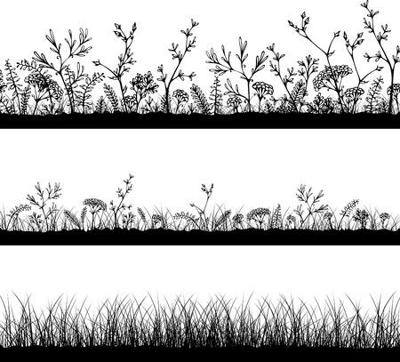 Illustration pour Three horizontal grass templates. Black silhouettes on white background. Easy to modify. - image libre de droit