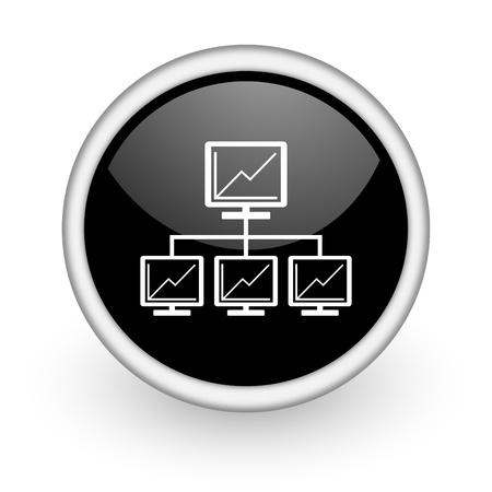 Photo pour black round icon on white background with shadow - image libre de droit