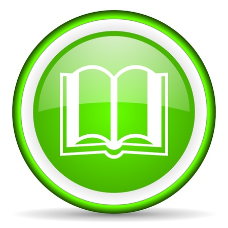 book green glossy icon on white background