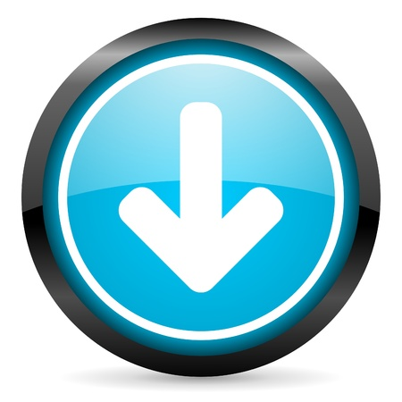 arrow down blue glossy circle icon on white background