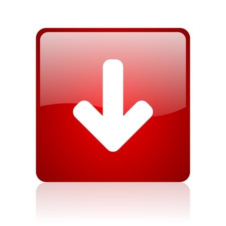 Photo pour arrow down red square glossy web icon on white background  - image libre de droit