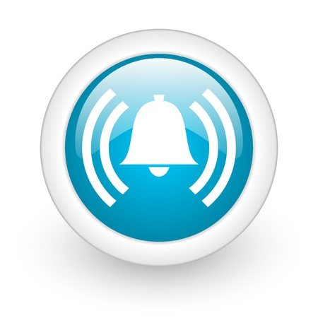 alarm blue circle glossy web icon on white background