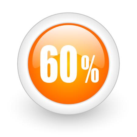 60 percent orange glossy web icon on white background
