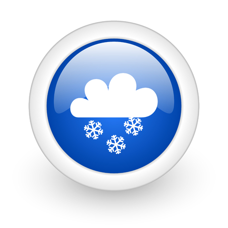 snowing blue glossy icon on white background