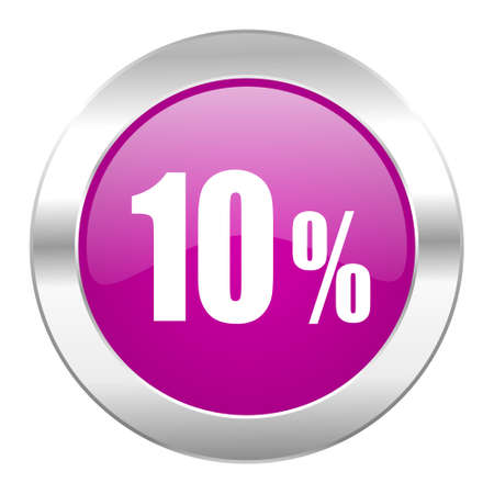 10 percent violet circle chrome web icon isolated