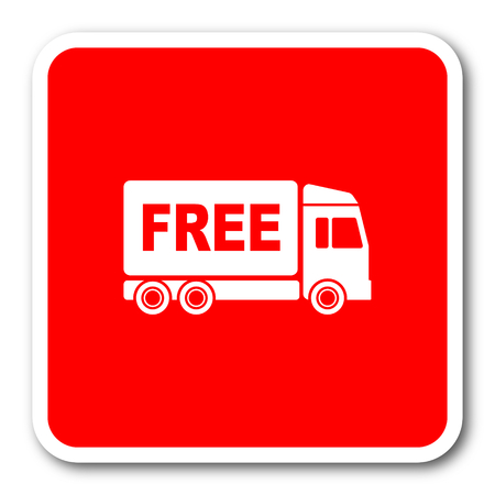 free delivery red square simple tag banner web icon