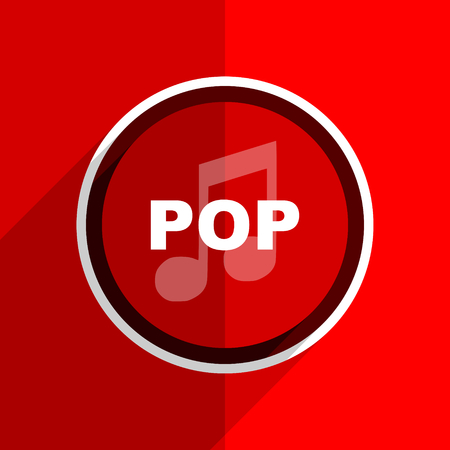 red flat design pop music web modern icon: Royalty-free