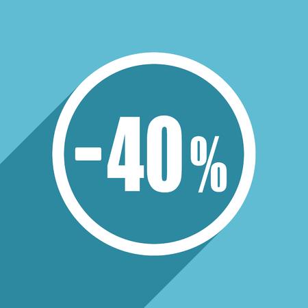 40 percent sale retail icon, flat design blue icon, web and mobile app design illustration