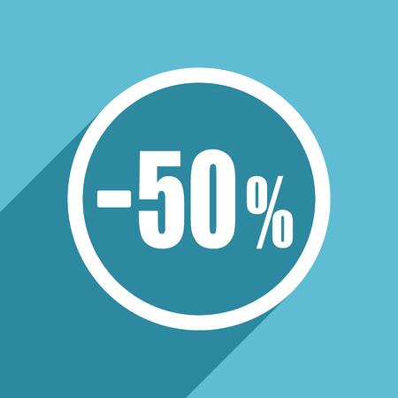 50 percent sale retail icon, flat design blue icon, web and mobile app design illustration