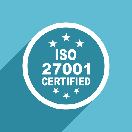 iso 27001 icon, flat design blue icon, web and mobile app design illustration