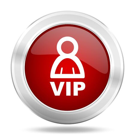 vip icon, red round metallic glossy button, web and mobile app design illustration