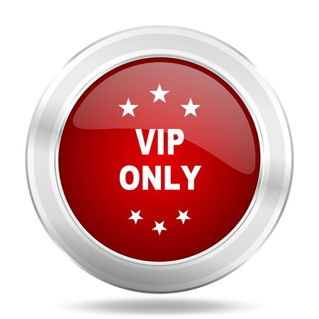 vip only icon, red round metallic glossy button, web and mobile app design illustration