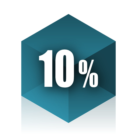 10 percent blue cube icon, modern design web element