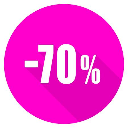 70 percent sale retail flat pink icon