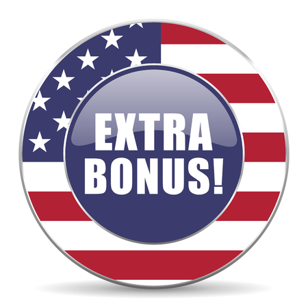 Extra bonus usa design web american round internet icon with shadow on white background.
