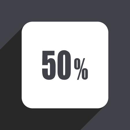 50 percent flat design web icon isolated on gray background