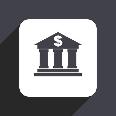 Bank flat design web icon isolated on gray background