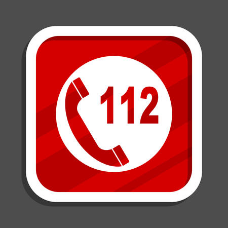 Emergency call icon. Flat design square internet banner.