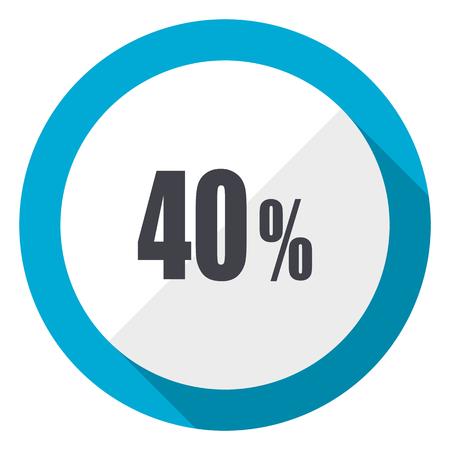 40 percent blue flat design web icon
