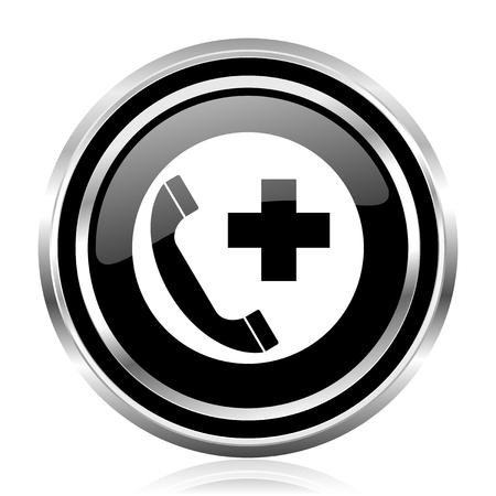 Emergency call black silver metallic chrome border glossy round web icon