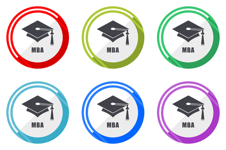 Mba flat vector web icon set, colorful round internet buttons in eps 10 isolated on white background