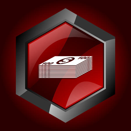 Money hexagonal glossy dark red and black web icon, vector