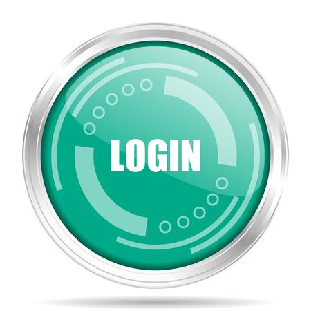 Login silver metallic chrome border round web icon, vector