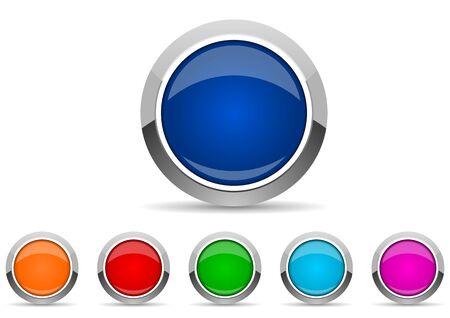 Illustration pour set of silver metallic chrome border web buttons in 6 color options, vector icons template - image libre de droit