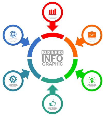 Ilustración de Vector infographic template for presentation, diagram, business concept illustration with 6 options - Imagen libre de derechos