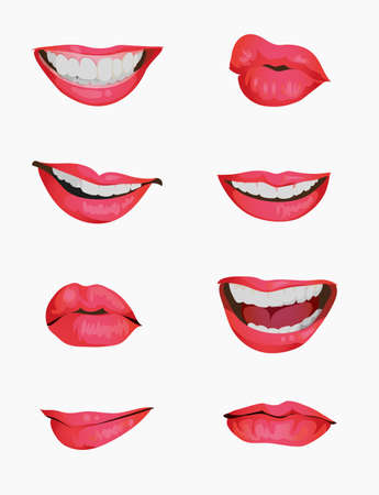 Illustration pour Set mouth emotions animation. Lip sync animated phonemes for woman character sign. Mouths with red lips speaking animations in english language text for education shape isolated symbol vector set - image libre de droit