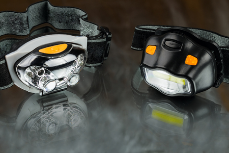 two head led lamps on white background