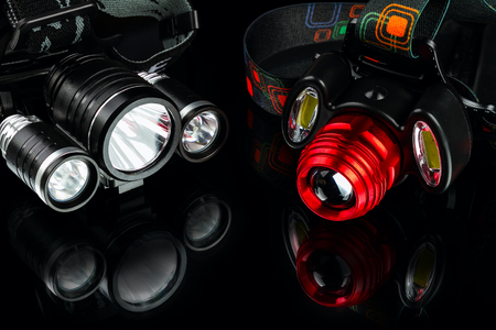 anodized aluminium waterproof tactical flashlight headlamp on black background