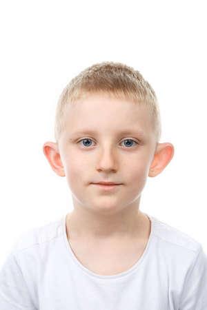 Photo pour Portrait of little boy on white isolated background. Backlight Photo. - image libre de droit